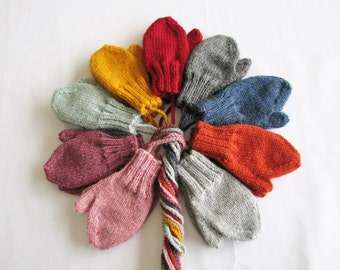 Toddler Lambs Wool Mittens on String Age 1-2 or 2-4 Choice of Colors & Black (not pictured) Seamless Knit, Thick/Warm/Cozy/Soft Hand Warmers
