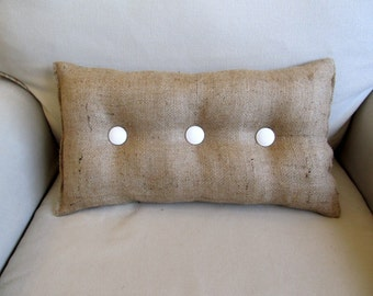 lumbar style 11x19 Burlap Pillow with white organic cotton buttons