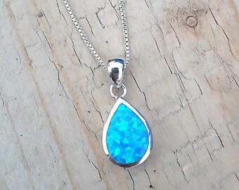 Blue Fire Opal Pendant