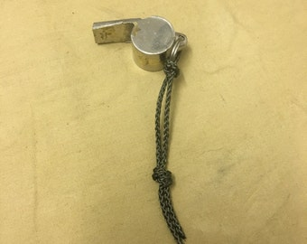 French Army whistle chrome on brass barn find with later paracord loop