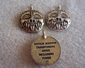 Gorgon Goddess Charms-set of 5- antiqued silver