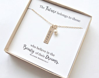 Graduation Gift, High School Graduation, Personalized Graduation Gift, Gold Bar necklace, Class of 2018, Silver Bar Necklace, Senior Gift