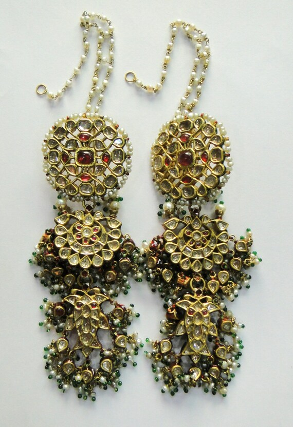 Rare vintage antique 20k Gold jewelry Diamond polki Ruby