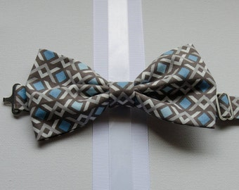 Bowtie - Baby, Toddler, and Little Boy Blue and Gray Geometric Print Bowtie