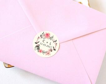 "Wedding Envelope Seals, Circle Stickers, White Stickers, Wedding Favor Stickers, Favour Stickers, ""Ella"", Set of 12 Stickers, SKU: WFH"