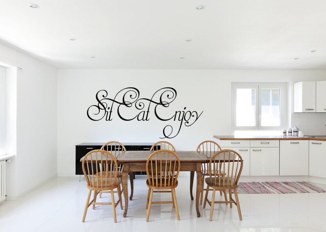 Sitzen Essen genießen Wand Aufkleber Küche Decals Küche