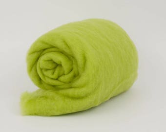 Lime B152, 1.77oz (50gr) 22mic Carded Merino Wool For Felting And Needle Felting.