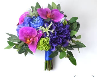 Wedding Flowers, Tropical Bouquet, Silk Flower Bouquet, Wedding Bouquet, Bridal Bouquet, Colorful Bouquet, Orchid Bouquet, Vibrant, Bright
