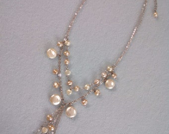 Sterling chain and baroque pearl necklace