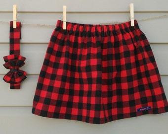 Skirt and headband - all - girl (baby and toddler) - red or blue - check Skirt & headband - girl set (baby and toddler) - Lumberjack