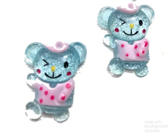 15/25 pcs Bear, Resin Cabochon with Silver Powder, Sky Blue, 29x23x11 mm