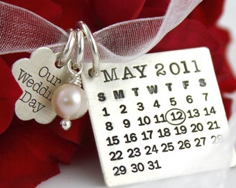 Mark Your Calendar Bouquet Charm with Our Wedding Day Flower Charm and crystal or pearl - personalized sterling silver necklace with pearl