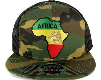 RGY Africa Map and Rasta Lion Embroidered Patch Camo Flat Bill Snapback Mesh Cap (153-1120-AFRICA-6)