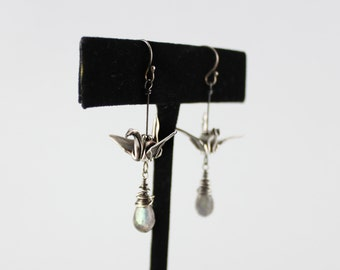 Handmade Origami Paper Crane Earrings, Origami Crane Jewelry, Paper Crane Earrings, Fine Jewelry,Labradorite Earrings, Labradorite Jewelry
