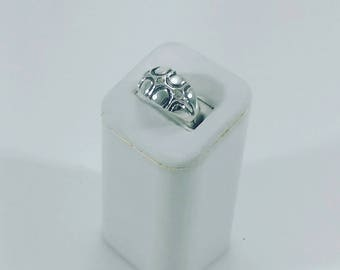 3 Star Dome Ring, Star Turtle, Sterling Silver w/ CZ'S