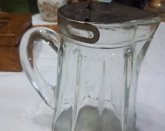 Vintage Clear Glass Syrup Pitcher Restaurant-style with Original Metal Lid