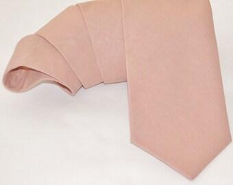 Dusty tea rose linen necktie