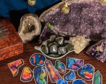 Labradorite Tumbled Stone & Crystal Sticker Set