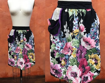 Vintage 50s 60s Colorful Floral Reversible Half Waist Apron. Vintage 1950s waist apron. Black Red yellow Pink Green Purple Blue