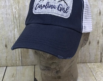 Carolina Girl Mountains and Heart / North Carolina State Home Pride Embroidered Raggy Patch Distressed Navy and White Trucker Hat / Cap