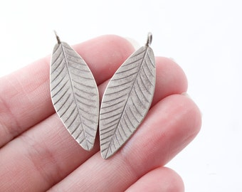 Hill Tribe Silver Leaf Simple Flat Lightweight Leaf Charm .999 fine silver Matching Pair 40mm Perfect for Earrings