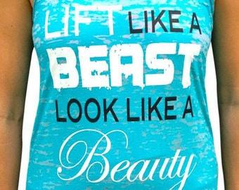 SoRock Women's Lift Like A Beast Teal Burnout Tank