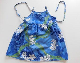 Vintage Little Girls Hawaiian Dress, Vintage Hawaiian Dress, Blue Vintage Hawaiian Dress, FREE SHIPPING