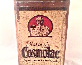 Vintage Antique Masury's Cosmolac Varnish Can - Collectible Rare