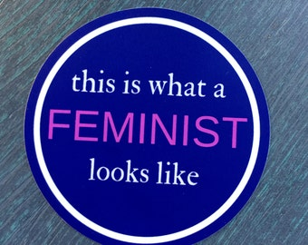 This is What A Feminist Looks Like Bumper Sticker, Laptop Sticker or Phone Sticker