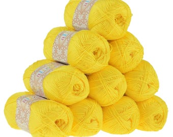 10 x 50g crochet/knitted yarn Alize forever, #110 Yellow
