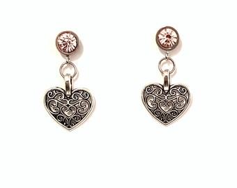 Idée cadeau de Noël - Boucles d'oreilles clous d'oreilles tout en acier inoxydable strass et coeur ajouré top qualité!