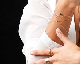 Tourmaline Dainty Gold Fill Bracelet, Pink Tourmaline Gemstone Bracelet, Gold Fill Green Gemstone Bracelet, October Birthstone Bracelet,