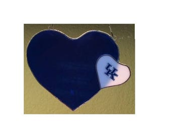 CATS Valentines, UK CATS, University of Kentucky, Stain Glass, Hearts, Blue and White, I love Kentucky,
