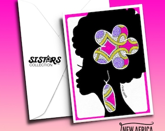 Afro SISTAR COLLECTION Greeting Card, A7, Black Greeting cards