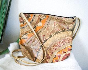 70's Style Vintage Tooled Leather Purse, Bohemian Purse, Hippie Purse, Boho Chic, Vintage Leather Purse, Crossbody Bag, Boho Bag, Handbag