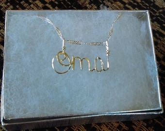 OMA  or ANY Wire Name in your choice of metals Grandmother gift personalized gift unique gift wire name jewelry