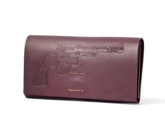 Leather Purse LOAD GUN Handmade Unique Purses, Designer Wallet on Sale
