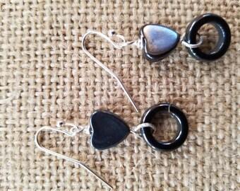 Heart Ring Hematite Earrings