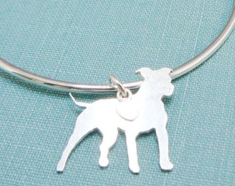 Pitbull Dog Bangle Bracelet, Sterling Silver Personalize Pit Bull Pendant, Breed Silhouette Charm, Resue Shelter, Mothers Day Gift