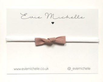 Dusky Pink Linen bow
