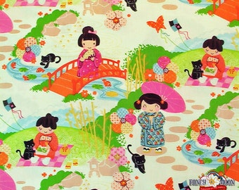 "End of Bolt - Aoi Has Two Sisters Fabric - Alexander Henry - Japanese Fabric, 10""x44"""