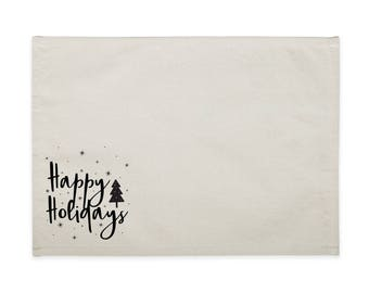 Happy Holidays Cotton Canvas Party Table Place Mat for Dinner Parties and Holiday Events, Table Setting, Tablescape, Home Decor, Set of 4