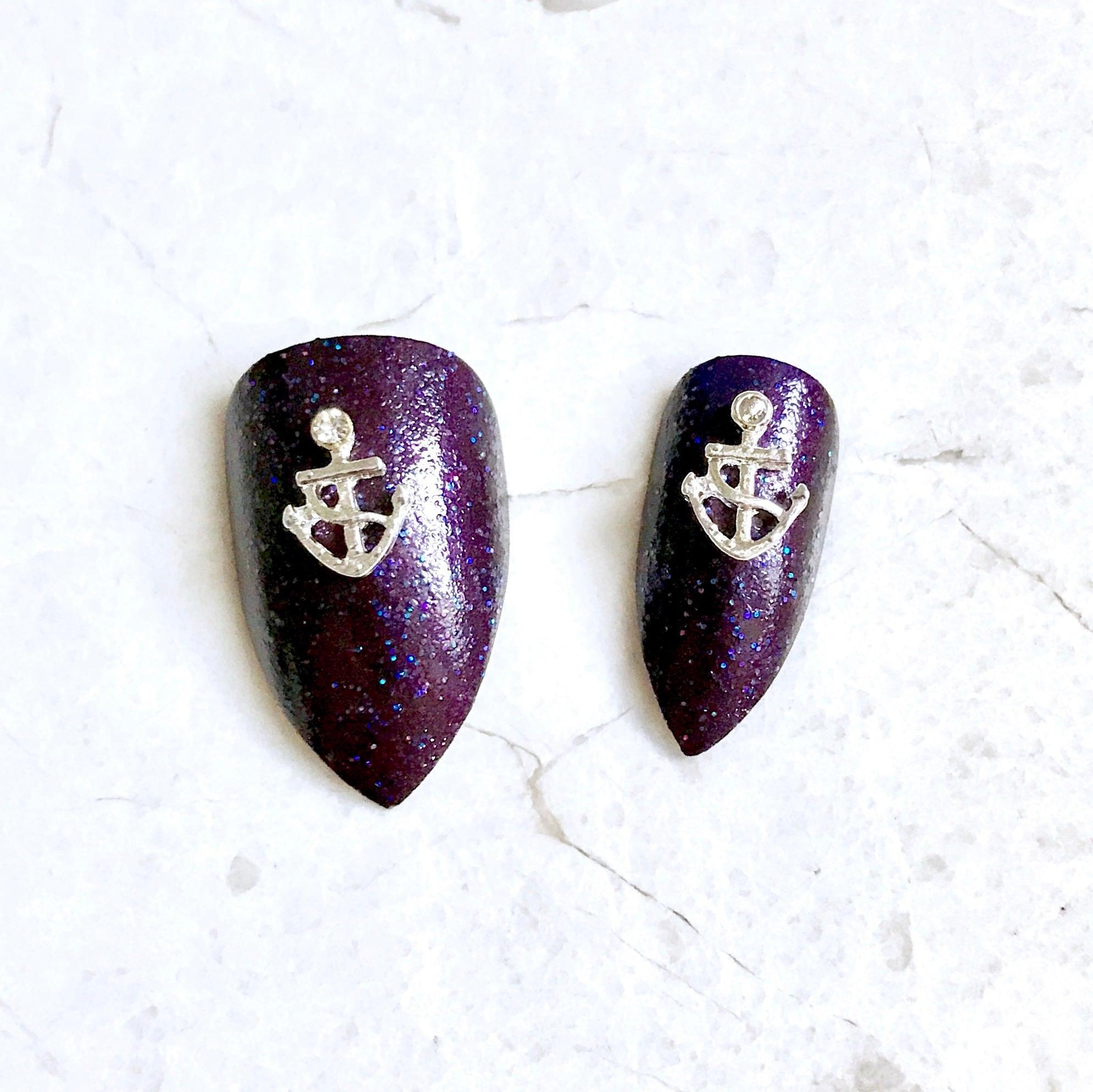 2 Silver Anchor Nail Charms - Nail Decorations - Nail Art - Nail ...