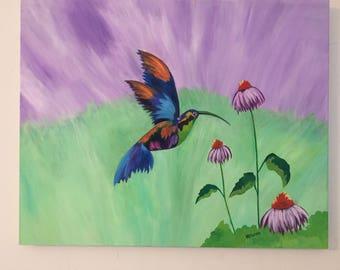 Love Art Work - Canvas Wall Art - Engagement Gift - Custom Wedding Gift - Canvas Modern Art - Little Hummingbird - Original Canvas