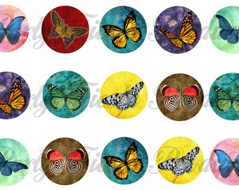 DOWNLOAD INSTANTLY - Colorful Butterfly Butterflies Bottle Cap Images