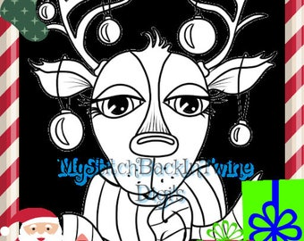 Digital stamp colouring image - Xmas Reindeer. jpeg / png