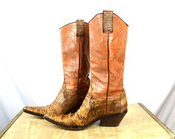 Vintage Sartore Paris Western Brown Cowboy Boots