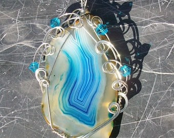 Wire Wrapped Agate Pendant by Rebecca Weber