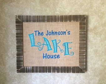 Embroidered Burlap Lake House Frame