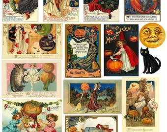 Instant Download  Halloween Witches and Familiars Digital Collage Sheet